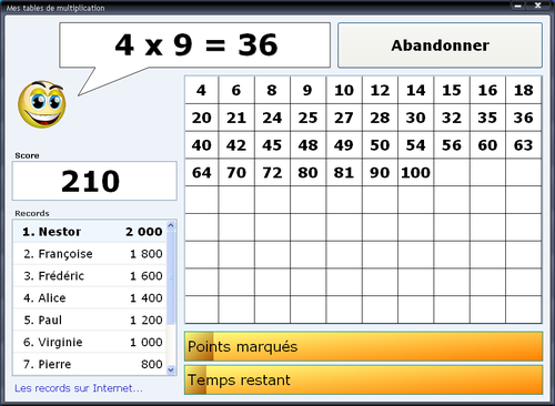 Comment apprendre les tables de multiplication jeux for Table de multiplication de 7 jeux